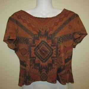 Brown Tribal Print Crop Top